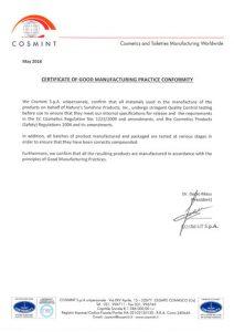 Сертификат на продукцию НСП Cosmint---GMP-1