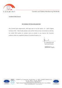 Сертификат на продукцию НСП Cosmint_A-1