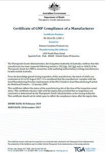 Сертификат на продукцию НСП TGA