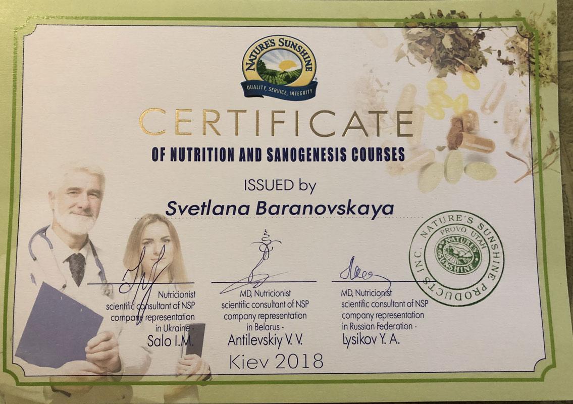 Барановская Светлана 2018 - Контакты