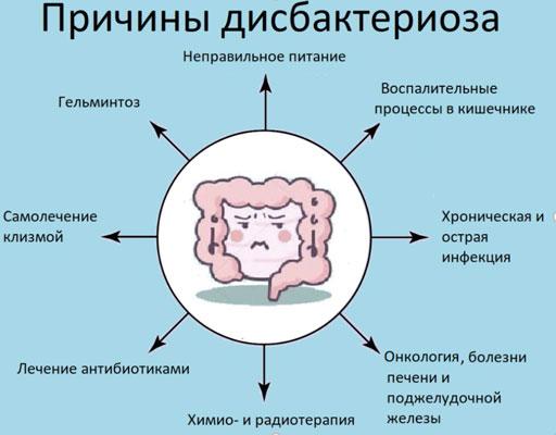 Причины развития дисбактериоза кишечника